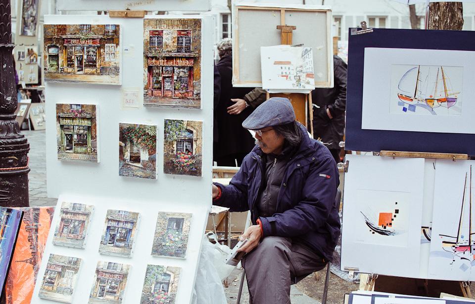 Künstler auf dem Place du Tertre in Montmartre Paris