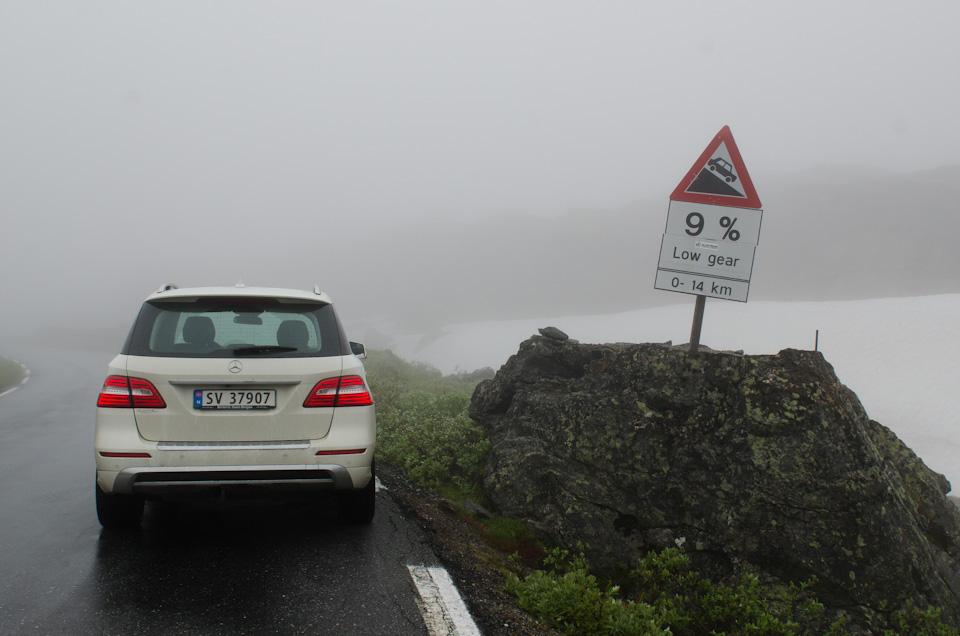 9 % Gefälle warten beim Trollstigen auf den Autofahrer in Norwegen