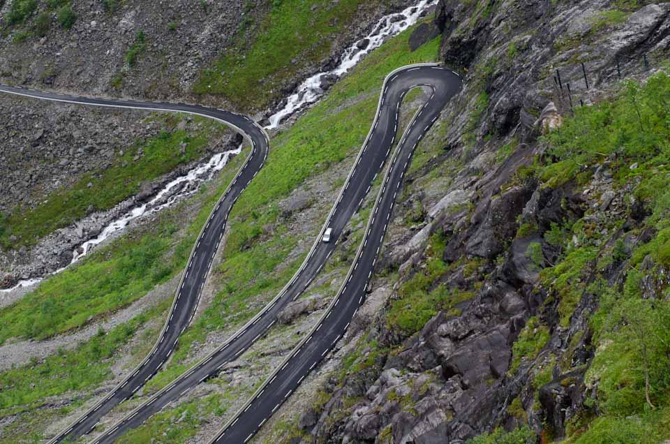 die Kurven des Trollstigen in Norwegen
