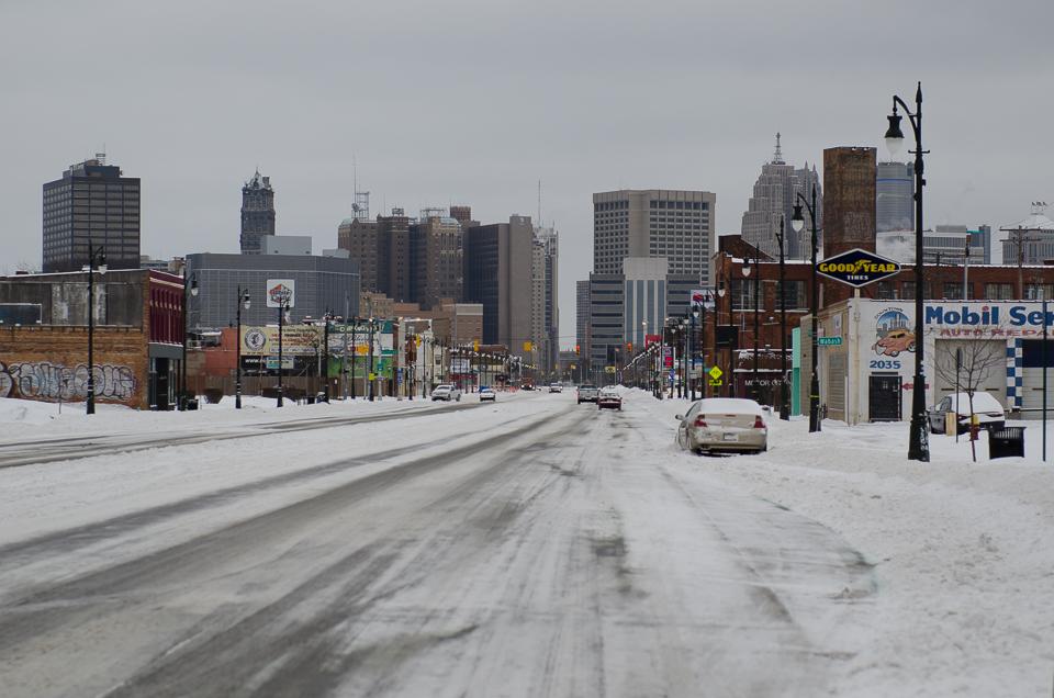 Schnee in Detroit Reisebericht Detroit