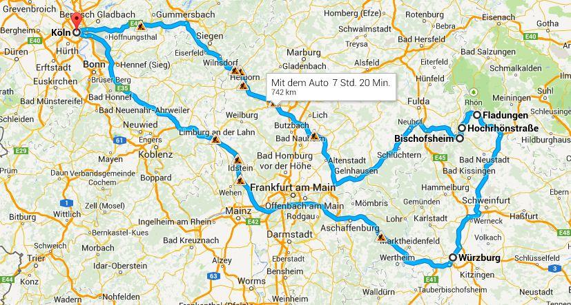 Lage der Hochrhönstraße landkarte