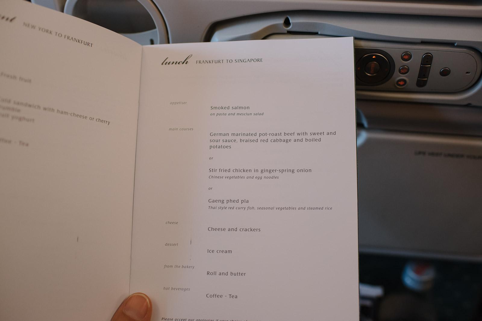 Menu Singapore Airlines Frankfurt nach SIngapur