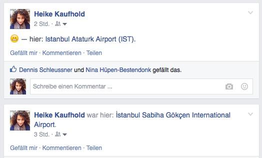 Flughafen Istanbul Facebook Status