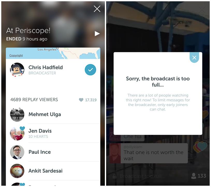 Livestream App Periscope zu voll