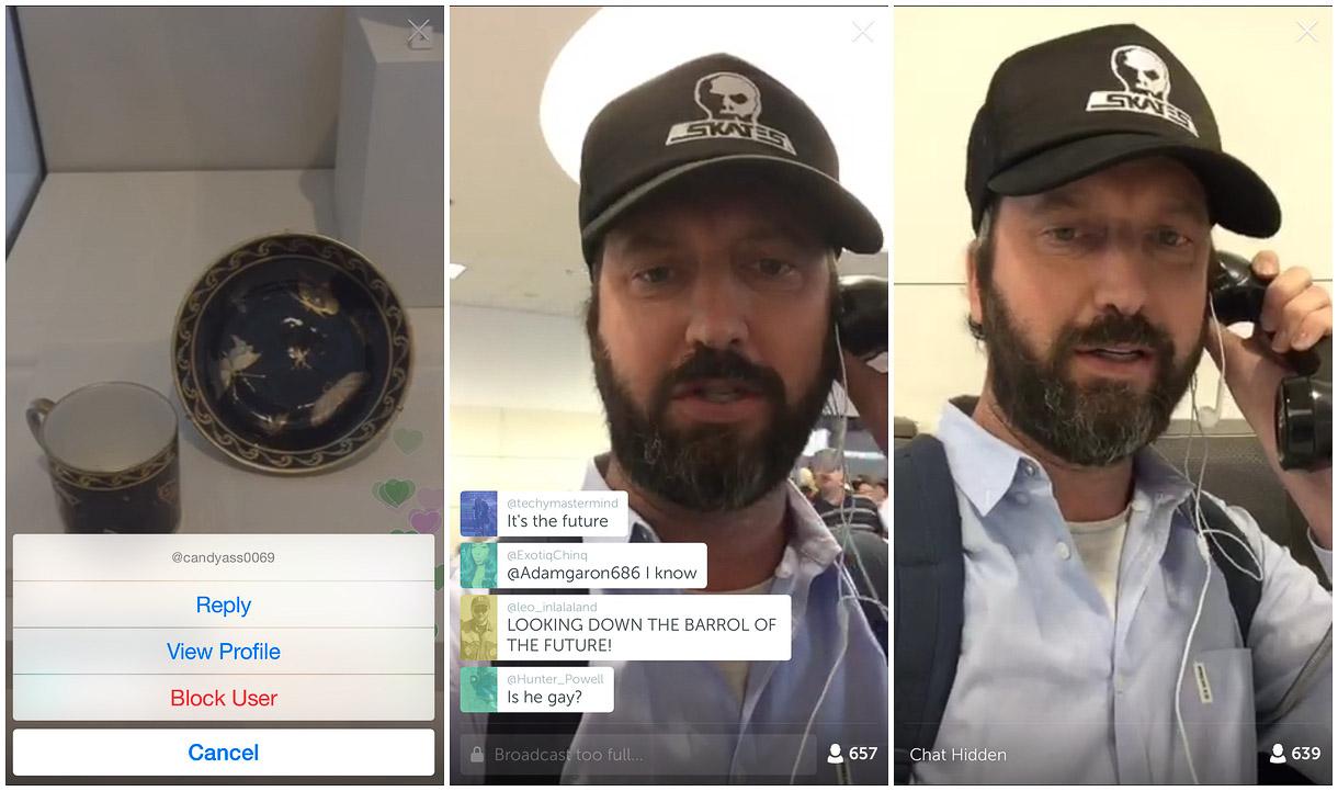 Trolle blocken und Kommentare ausschalten Livestream App Periscope