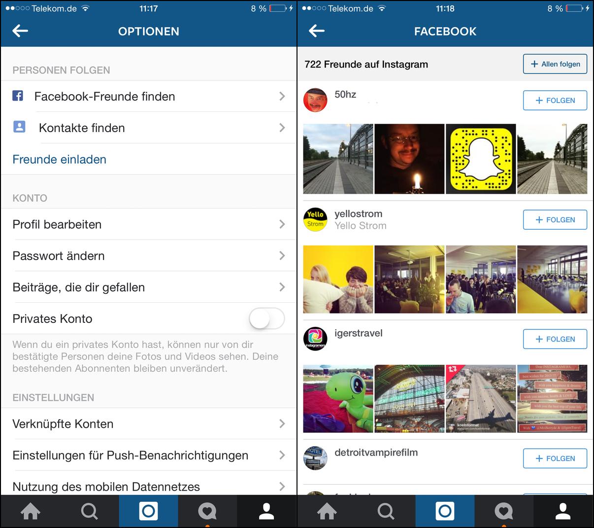 Einen Instagram Account heimlich einrichten Verknüpfung Instagram Facebook