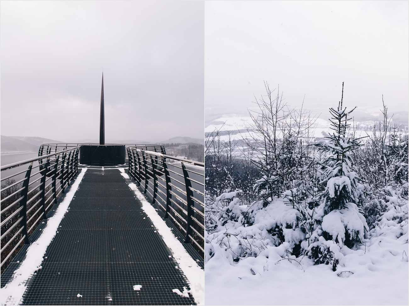 Schnee auf dem Skywalk Biggeblick