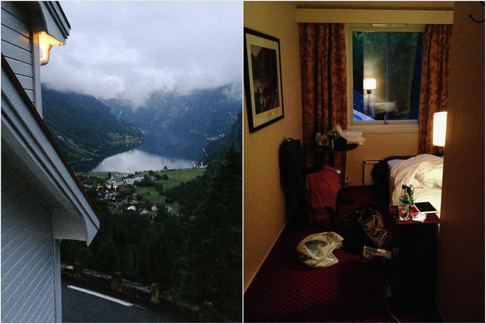 Blick auf den Geirangerfjord vom Hotel Utsikten
