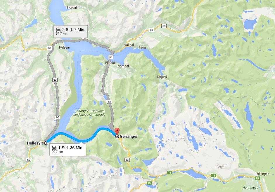 Anfahrt Geirangerfjord