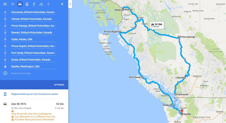 Routenvorschlag British Columbia, Kanada